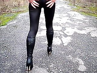 Heeled Boots And Tight Leggings