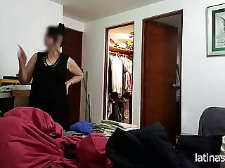 Jerking off in front of Maid, then grabbing her huge melons