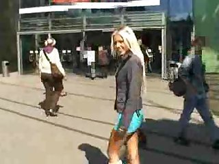 Blonde and her man love public sex
