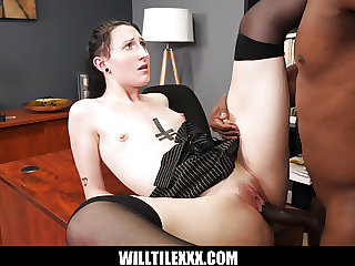 Goth Employee Raven Vice gets fucked to keep her job