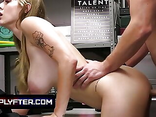 Sexy Store Associate Lets The Security Stretch Her Pussy