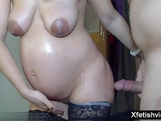 Very Hot pregnant brunette in gangbang with cumshot