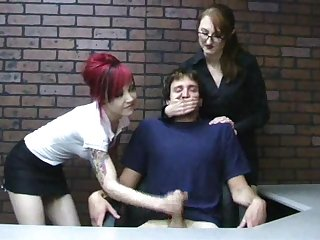 Miss Kendra teaches goth chick to give handjob