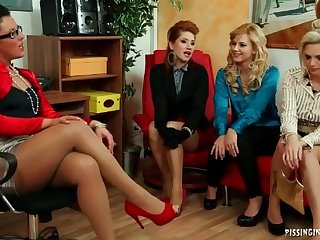 Five clothed ladies fondle and stroke the lucky guy