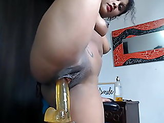 Latina With Fit Body Rides Dildo To The Beat
