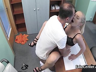 Doctor fucks slim wife of his boss