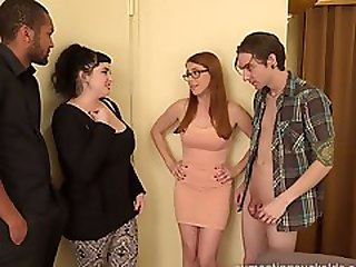 Hot Redhead and Her Husband Share a Big Black Cock