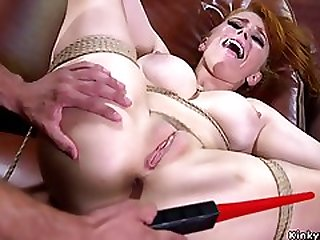 Large-Bosomed Redhead Zappered And Butt Fucking Humped Bdsm