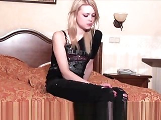Woodman casting - Adorable russian blonde becoming horny