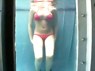 Blonde bikini babe with awesome body shows skills underwater