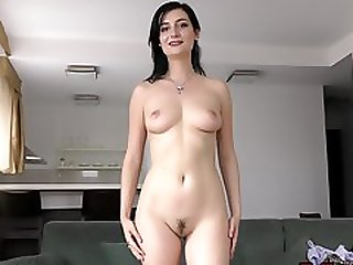 Brunette Model Showing Her Body On A Casting