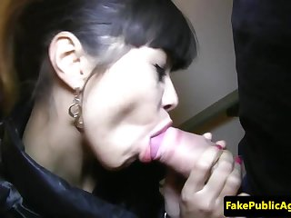 Pulled russian beauty cocksucking on stairs