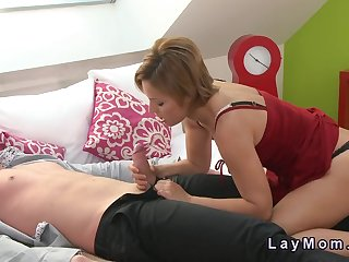 Hairy Milf sucks and fucks fat cock