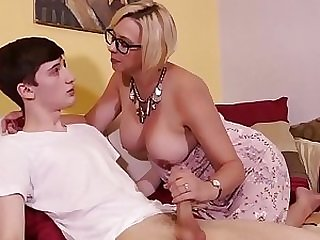 Mature blonde stepmom MILF cougar destorying lucky stepson