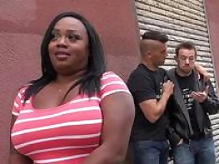 Overweight black chick cumshot on face