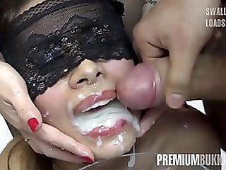 A Group Of Men Cums On Victorias Face In Cum Drinking Bukkake Orgy