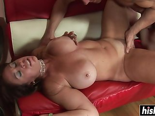 Brunette MILF makes his johnson disappear