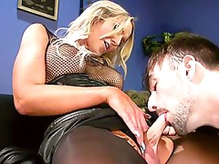 Huge Mammaries Tranny Fucks Repairman