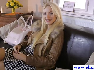 Longlegged eurobeauty pov sucking cock