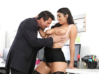 Busty latina employee fucked by new boss