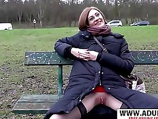Slutty MILF Shows Her Pussy In Public