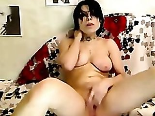 Busty Goth Teen Strip & Masturbate On Webcam