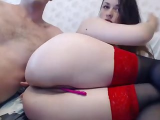 Young sweet couple anal fuck on webcam