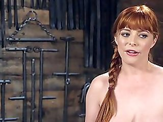 Submissive Redhead Girl With Big Tits Enforces To Suck Balls