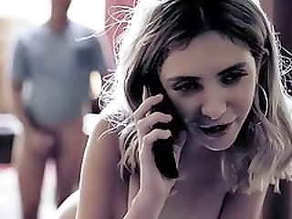 Slutty Babysitter Cheats On Her BF While He Is On Phone!