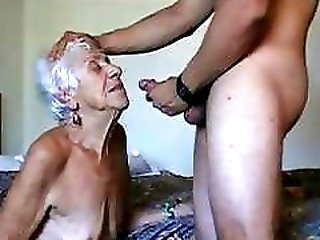 Wrinkly old gray haired granny gets a hard young cock pounding