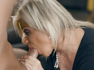 Old granny Payton Hall fucked by young man Brad Hart