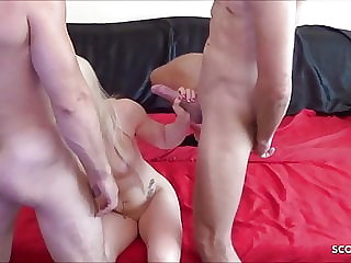 Skinny German Fitness Girl at Amateur MMF DP Threesome