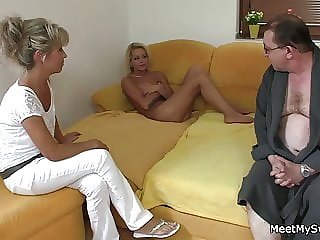 His blonde GF gets pussy licked and fucked by old dad