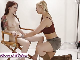 Tattoed model eats out blonde lesbian photographer