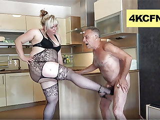 Pissed BBW and Daughter Ballbusting Old Perv