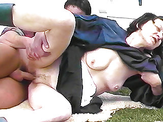 ugly grandma fucks grandson outdoor