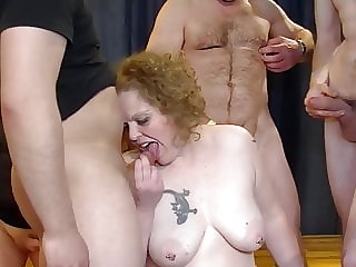 Gangbang with chubby mature mom