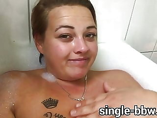 Sexy German Teen BBW with Huge Tits, fat belly in bathtub