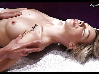 Masha being first time massaged