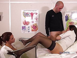 He fucked her in front of the busty doctor