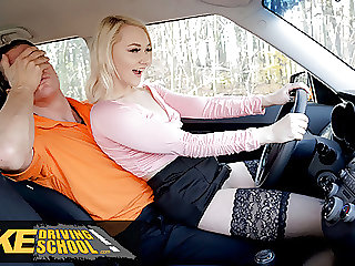 Fake Driving School - Blonde Marilyn Sugar in Black Stockings