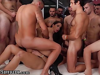 Two Babes Get Destroyed By A Huge Group Of Guys