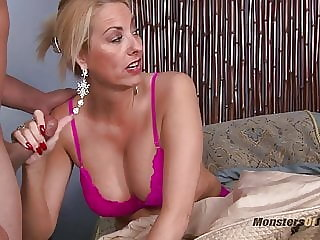 Two Milfs Jerk Off and Suck Young Cock