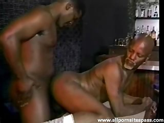 Black guy with a goatee boned in the ass
