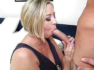 Busty MOM licks ass and fucks lucky son